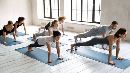 Woman instructor and group of people performing plank pose during yoga work out morning routine. Full length view seven young girls and guys on mats doing push up press up exercise, wellness concept