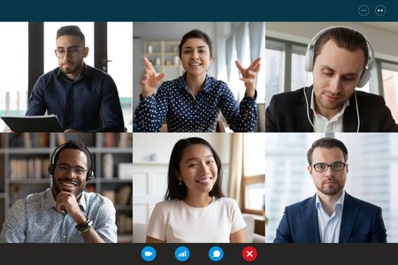 Photo for Team working by group video call share ideas brainstorming negotiating use video conference, pc screen view six multi ethnic young people, application advertisement easy and comfortable usage concept - Royalty Free Image
