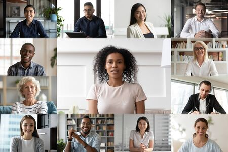 Photo for Headshot screen application view of multiethnic colleagues engaged in webcam conference or conversation online, multiracial businesspeople talk on team video call, brainstorm at web group meeting - Royalty Free Image