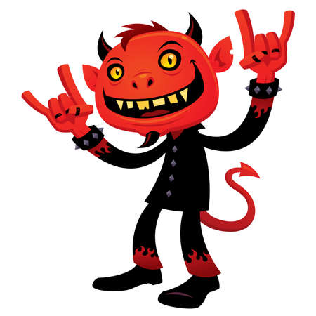 cartoon illustration of a grinning devil character with heavy metal, rock and roll, devil horns hand signs.