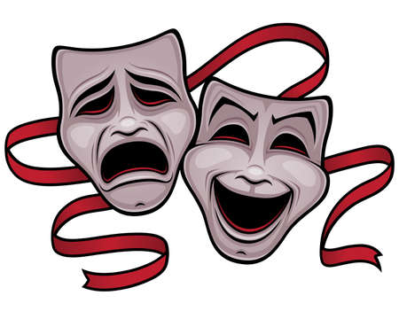 Illustration of comedy and tragedy theater masks with a red ribbon.
