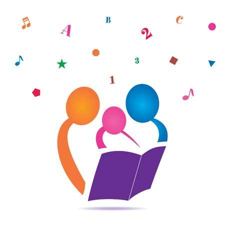 Illustration for Reading Together Icon - Royalty Free Image