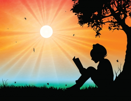 Illustration for Young girl reading in sunset background - Royalty Free Image
