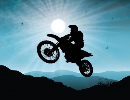 Illustration pour Motorsport in sunset background - image libre de droit