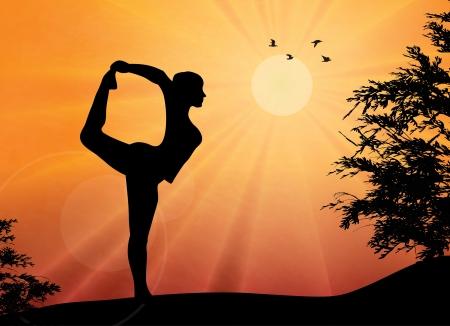 Illustration pour Woman practicing yoga at outdoor - image libre de droit