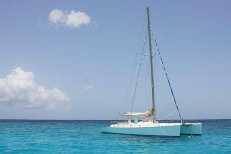 catamaran in saona beach - caribbean sea