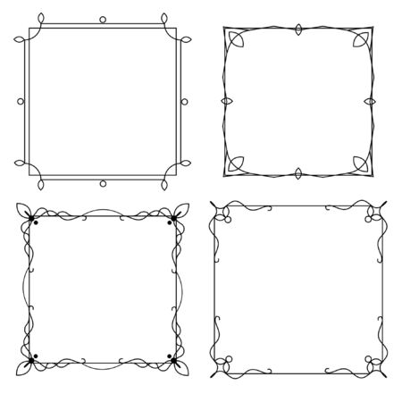 Illustration pour Set of decorative frames with a pattern isolated on white background. Retro ornamental frame, vintage rectangle ornaments and ornate border. - image libre de droit