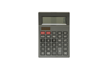 Foto de Black Calculator on isolated white background, Top View - Imagen libre de derechos