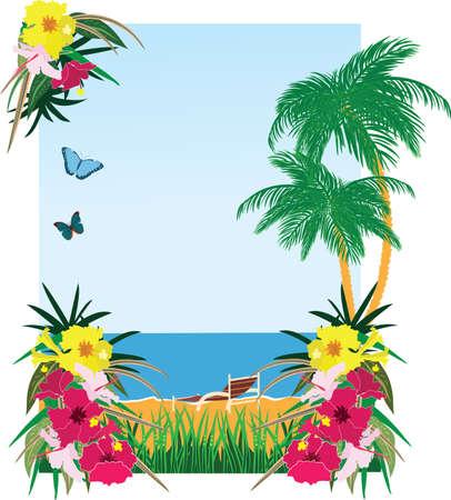 Illustration pour Background with tropical plants sea and beach - image libre de droit