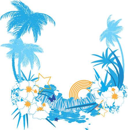 Illustration pour Background with tropical plants flowers and butterflies - image libre de droit