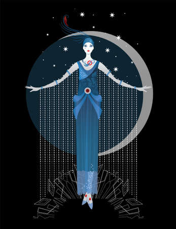 Illustration for Graphic silhouette of a art deco woman. Fashion luxury. Feminine concept - Royalty Free Image