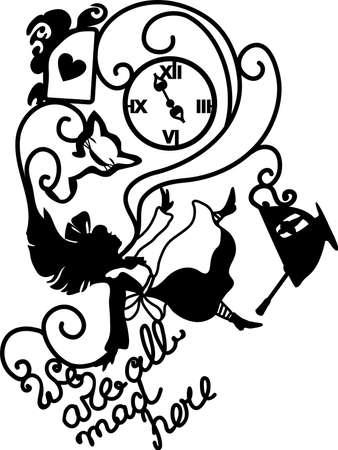 Illustration pour Alice in Wonderland vector illustration. We are all mad here. Fantasy stylish illustration for cafe, menu, card, book. - image libre de droit