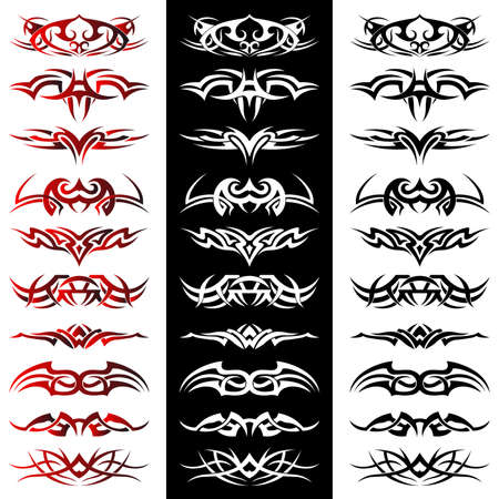Illustration pour Set of tribal tattoo including - image libre de droit