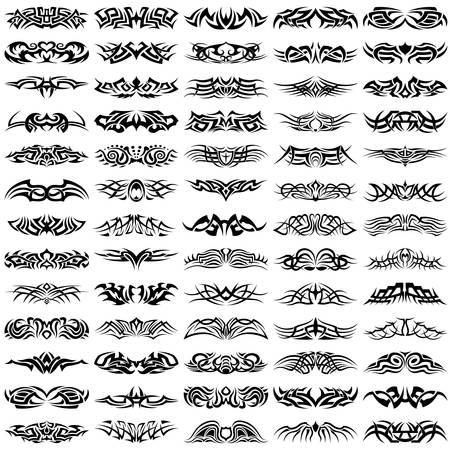 Illustration pour Big, vector set of tribal tattoos - image libre de droit
