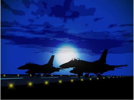 Silhouettes of military planes against the moon
