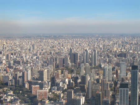 Aerial photo  Panorama of Buenos Aires with smoke, Argentina The city is among the most polluted in the world, next to Hong Kong, Mexico DF and Santiago de Chile