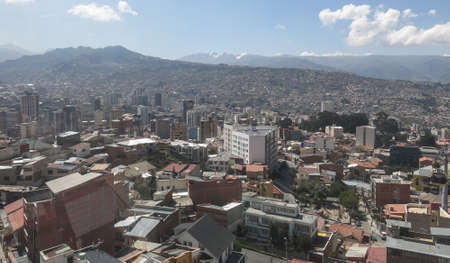 Cityscape of La Paz Bolivia With Illimani Mountain rising in the background