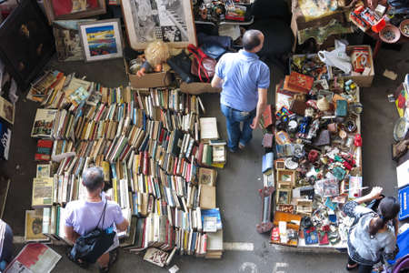 BARCELONA, SPAIN - AUGUST 1, 2015: Top view of Flea market in Barcelona, Spain. Mercat Fira de Bellcaire is one of the oldest markets in Europe, has been known since the 14th century