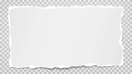 Illustration for Piece of torn white and horizontal paper with soft shadow are on grey squared background for text. Vector illustration - Royalty Free Image