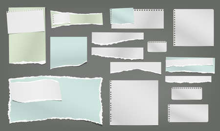 Illustration for Set of torn white and colorful note, notebook paper strips and pieces stuck on dark grey background. Vector illustration. - Royalty Free Image