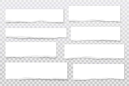 Illustration for Torn of white note, notebook paper strips, pieces stuck with sticky tape on grey background. Vector illustration - Royalty Free Image