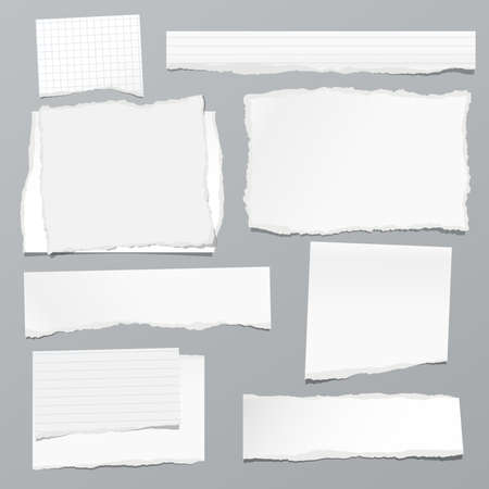 Illustration for Torn of white note, notebook paper strips and pieces stuck on grey background. Vector illustration - Royalty Free Image