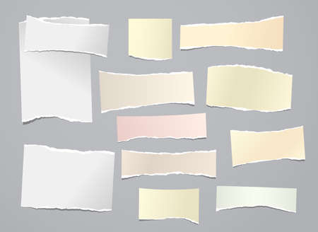 Illustration for White and yellow torn note, notebook paper stripes are on grey background for text, advertising or design. Vector illustration - Royalty Free Image