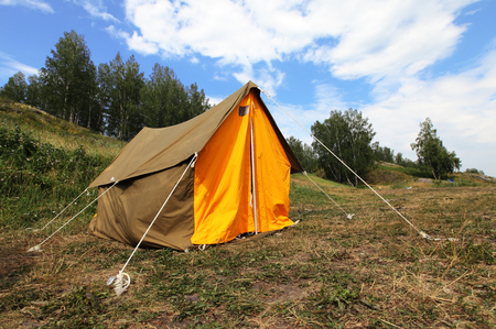 Camping tent on outdoor nature. Tourism concept
