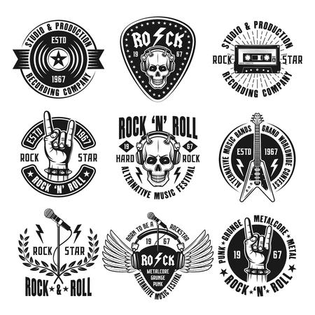 Illustration for Rock n roll music set of vintage emblems vector illustration - Royalty Free Image