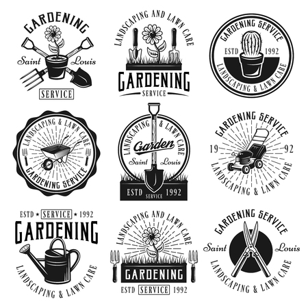 Illustration for Gardening service, landscaping and lawn care set of nine vector black emblems, badges, labels or logos in retro style isolated on white background - Royalty Free Image