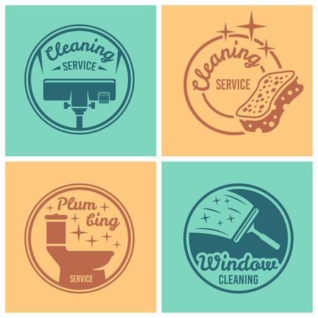 Illustration pour Cleaning service, plumbing service, window cleaning set of four vector round badges, labels, emblems on colored backgrounds - image libre de droit
