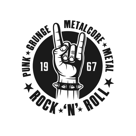 Rock n roll emblem, label, badge or logo in monochrome vintage style with hand gesture and names of musical genres isolated on white background