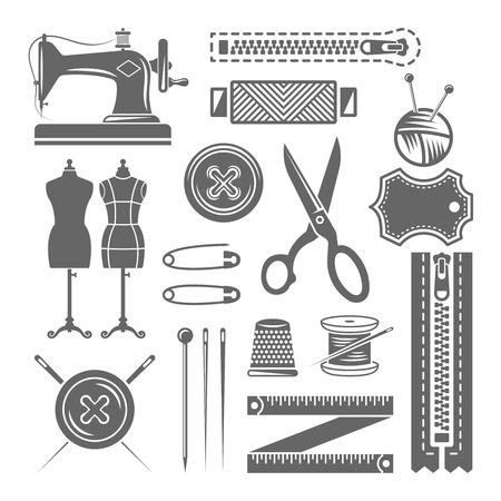 Ilustración de Sewing accessories, sewing supplies, tailor shop set of vector monochrome design elements isolated on white background - Imagen libre de derechos
