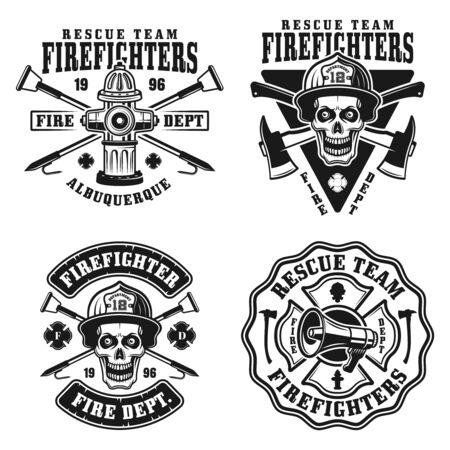 Ilustración de Fire department set of four vector emblems, badges, labels or logos in vintage monochrome style isolated on white background - Imagen libre de derechos