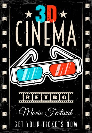 Illustration for Cinema vector poster with 3d glasses in retro style. Movie festival flyer template with removable text and textures on separate layers - Royalty Free Image