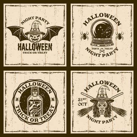 Photo pour Set of halloween vector emblems, labels, badges or t-shirt prints in vintage style on background with grunge textures - image libre de droit