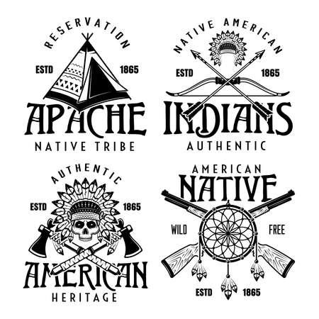 Illustration pour Native american indians set of four vector vintage emblems, labels, badges  in monochrome style isolated on white background - image libre de droit