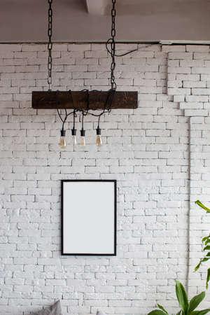 Photo pour Mock up. White brick wall with place for your design. - image libre de droit