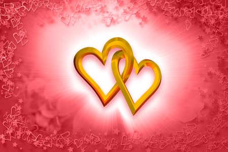 Photo pour Valentine \ 's Day - Two Gold Hearts - image libre de droit