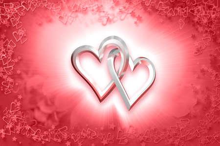 Photo pour Valentine \ 's Day - Two Silver Hearts - image libre de droit