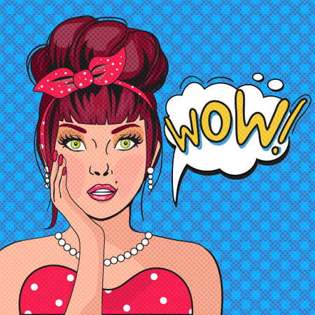 Ilustración de WOW bubble pop art.Surprised Woman With Open Mouth. Vintage comic poster with a girl. Pop Art illustration of a woman with the speech bubble. Party invitation. Birthday greeting card - Imagen libre de derechos