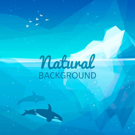 Iceberg nature background. Landscape of northern and Antarctic life - Iceberg in ocean and underwater world with different animals. Low polygon style illustrations. Underwater nature background