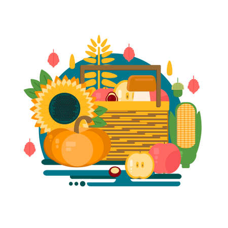 Foto für Wooden crate with autumn fruits and vegetables. Vector illustration of autumn harvest in flat style. Background with fresh, natural foods. Cart with product buy in supermarket. Diet and organic food template. - Lizenzfreies Bild