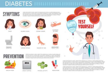 Illustration pour Diabetes infographic. Diabetes symptoms, prevention and treatment. Medical information vector concept infographic. - image libre de droit