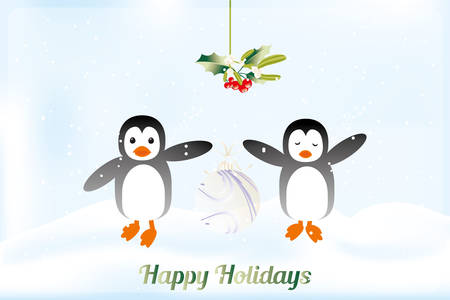 Illustration pour Cute holiday card with penguins holding Christmas ball - available as jpg and eps-file - image libre de droit