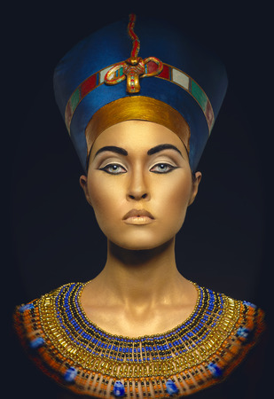 Woman with golden skin in Egyptian style