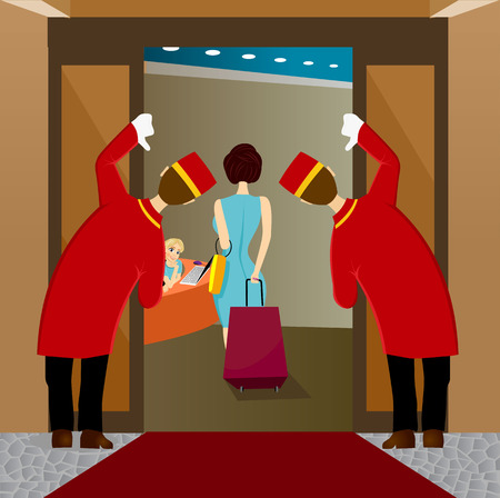 A cartoon illustration of two welcoming hotel or venue doormen or bellhops in their red and gold uniforms looking at woman leaving