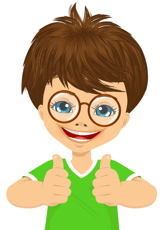 Vektor für little boy with glasses showing two thumbs up isolated over white background - Lizenzfreies Bild