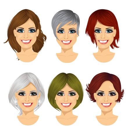 Illustration pour set of middle aged woman avatar with different hairstyles isolated on white background - image libre de droit