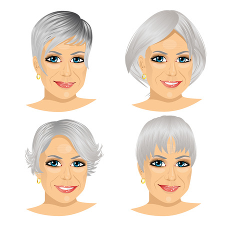 Illustration pour set of mature woman avatar with different hairstyles isolated on white background - image libre de droit